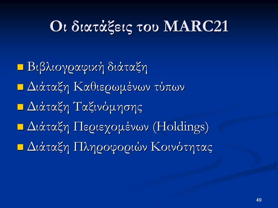 Οι διατάξεις του MARC21 Βιβλιογραφική διάταξη