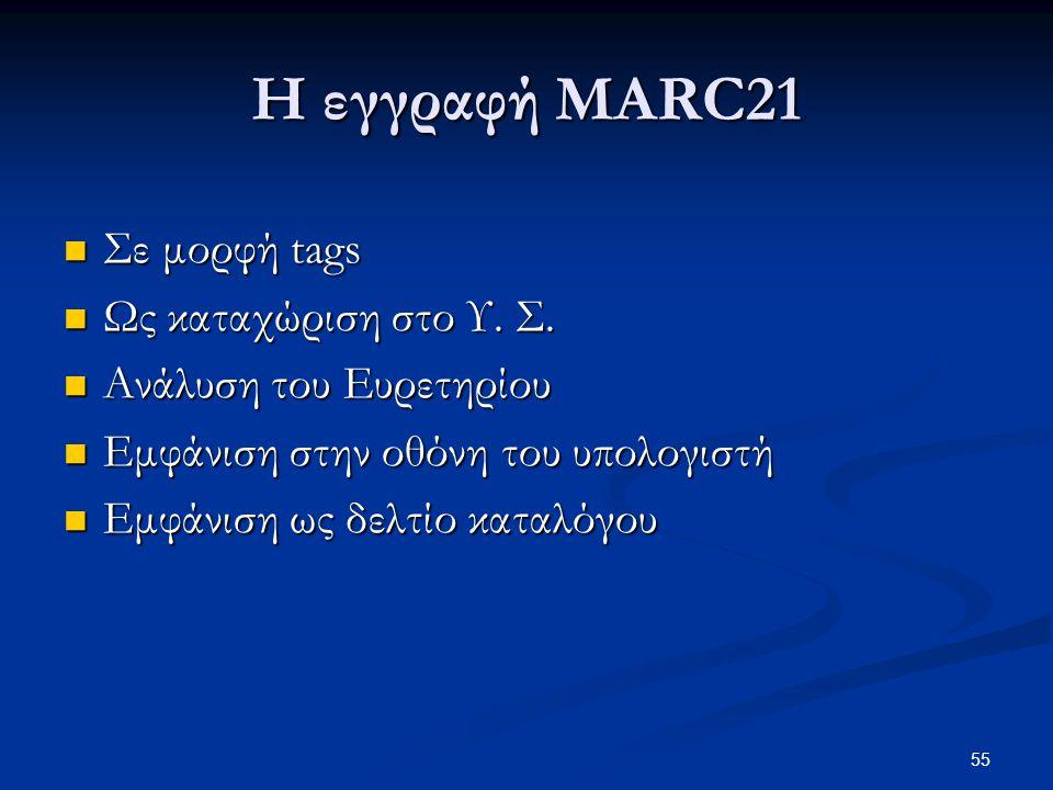 Η εγγραφή MARC21 Σε μορφή tags Ως καταχώριση στο Υ. Σ.