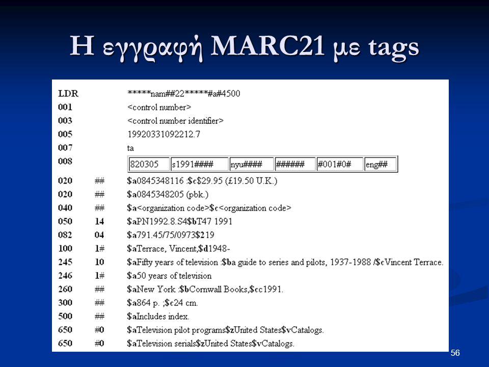 Η εγγραφή MARC21 με tags