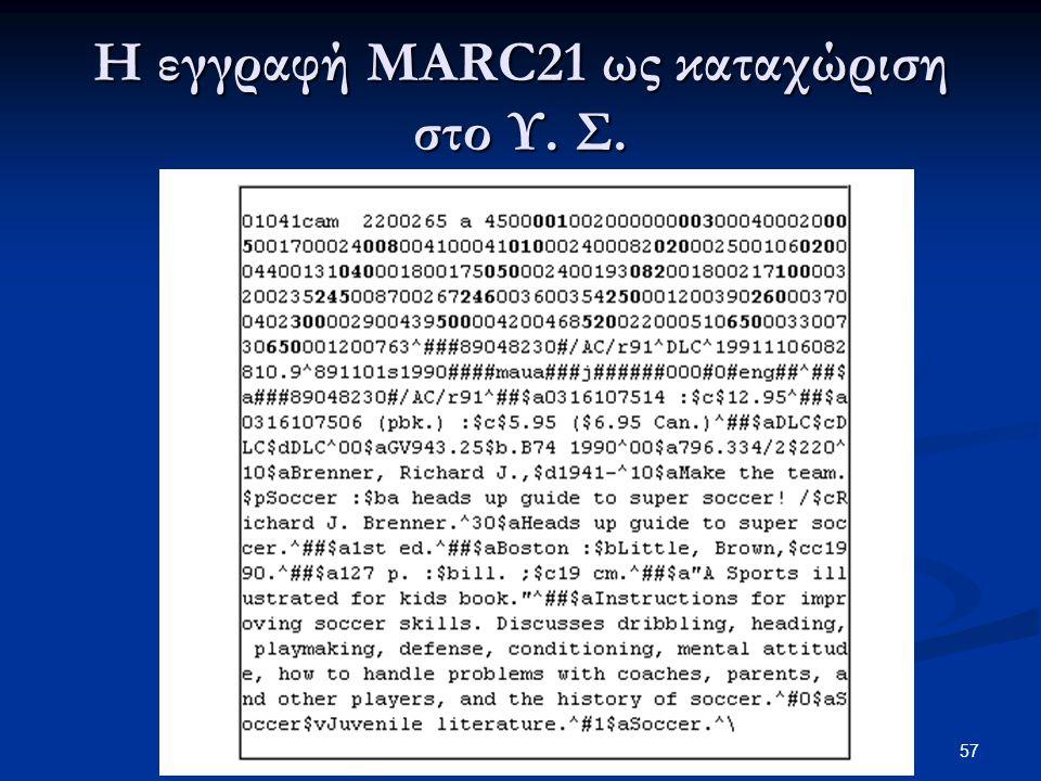 Η εγγραφή MARC21 ως καταχώριση στο Υ. Σ.