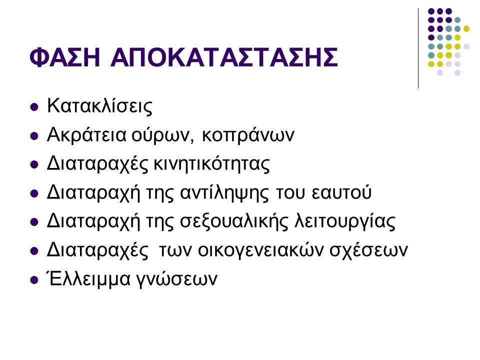 ΦΑΣΗ ΑΠΟΚΑΤΑΣΤΑΣΗΣ Κατακλίσεις Ακράτεια ούρων, κοπράνων
