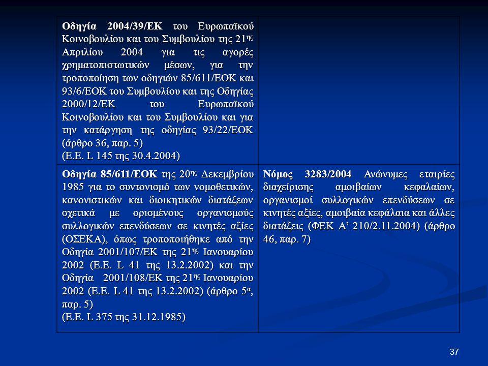 Οδηγία 2004/39/ΕΚ του Ευρωπαϊκού Κοινοβουλίου και του Συμβουλίου της 21ης Απριλίου 2004 για τις αγορές χρηματοπιστωτικών μέσων, για την τροποποίηση των οδηγιών 85/611/ΕΟΚ και 93/6/ΕΟΚ του Συμβουλίου και της Οδηγίας 2000/12/ΕΚ του Ευρωπαϊκού Κοινοβουλίου και του Συμβουλίου και για την κατάργηση της οδηγίας 93/22/ΕΟΚ (άρθρο 36, παρ. 5)