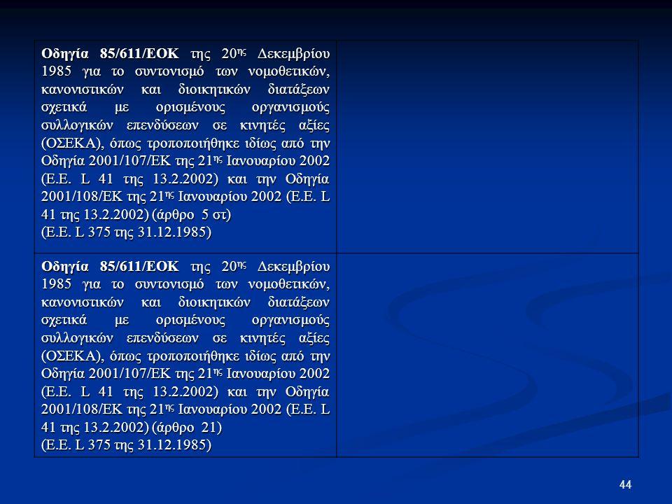 Οδηγία 85/611/ΕΟΚ της 20ης Δεκεμβρίου 1985 για το συντονισμό των νομοθετικών, κανονιστικών και διοικητικών διατάξεων σχετικά με ορισμένους οργανισμούς συλλογικών επενδύσεων σε κινητές αξίες (ΟΣΕΚΑ), όπως τροποποιήθηκε ιδίως από την Οδηγία 2001/107/ΕΚ της 21ης Ιανουαρίου 2002 (E.E. L 41 της 13.2.2002) και την Οδηγία 2001/108/ΕΚ της 21ης Ιανουαρίου 2002 (E.E. L 41 της 13.2.2002) (άρθρο 5 στ)