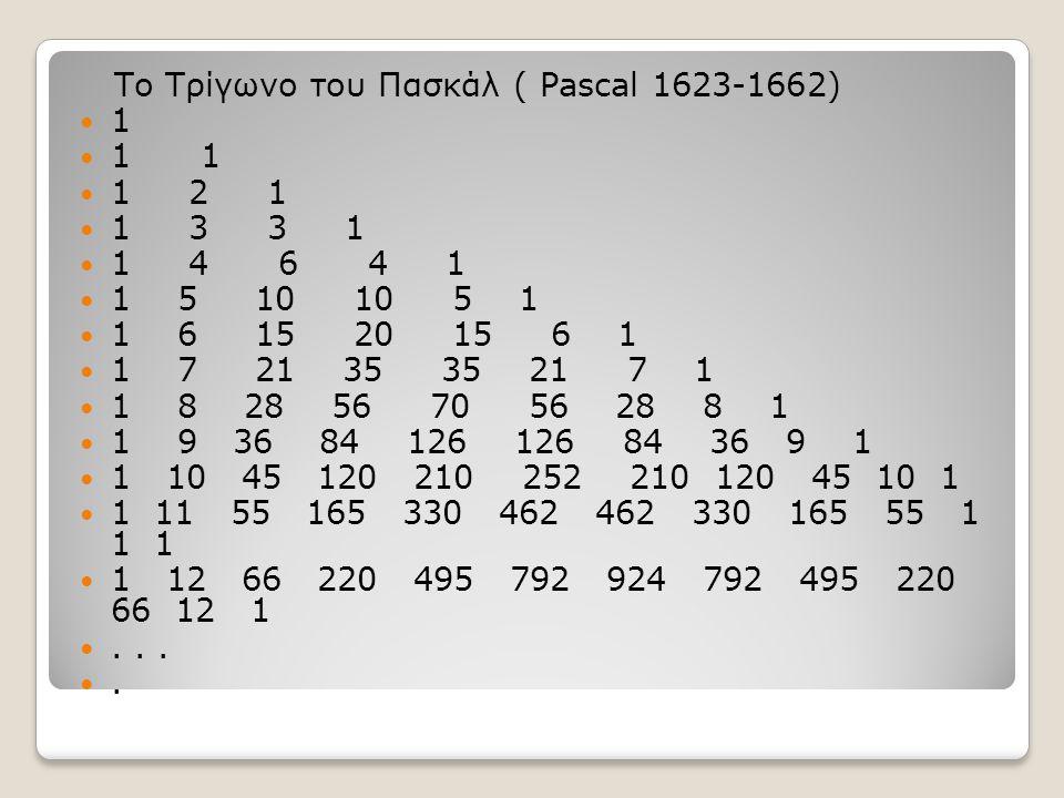 Το Τρίγωνο του Πασκάλ ( Pascal 1623-1662)