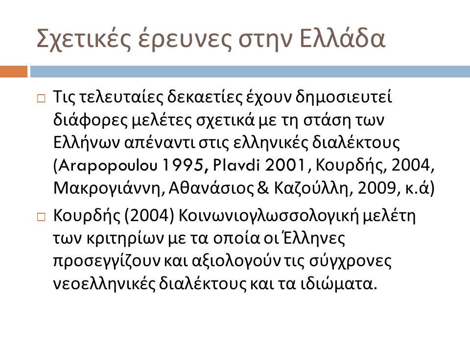 Σχετικές έρευνες στην Ελλάδα