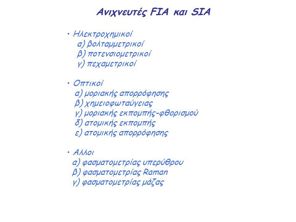 Ανιχνευτές FIA και SIA Ηλεκτροχημικοί α) βολταμμετρικοί