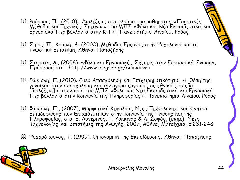 Ψαχαρόπουλος, Γ. (1999). Οικονομική της Εκπαίδευσης, Αθήνα.: Παπαζήσης
