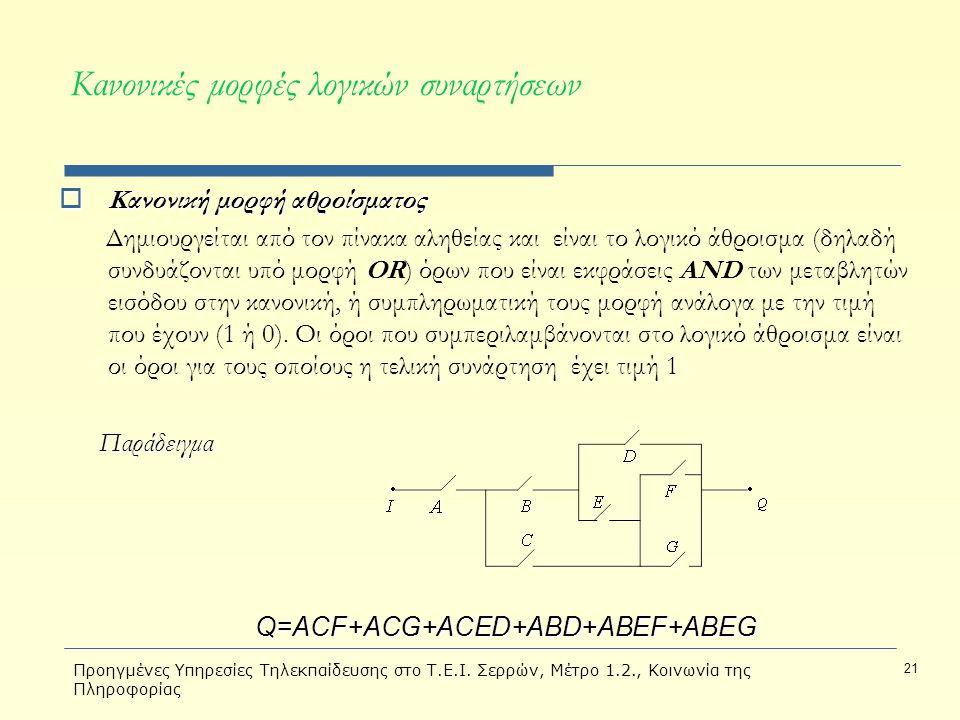 Κανονικές μορφές λογικών συναρτήσεων