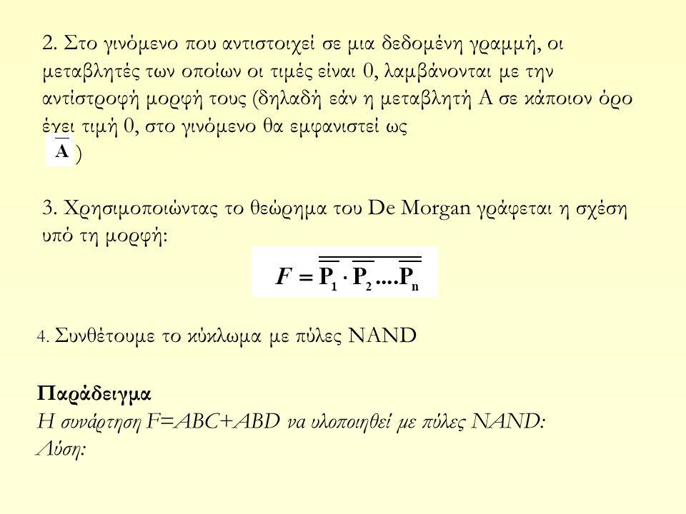 Η συνάρτηση F=ABC+ABD να υλοποιηθεί με πύλες NAND: Λύση: