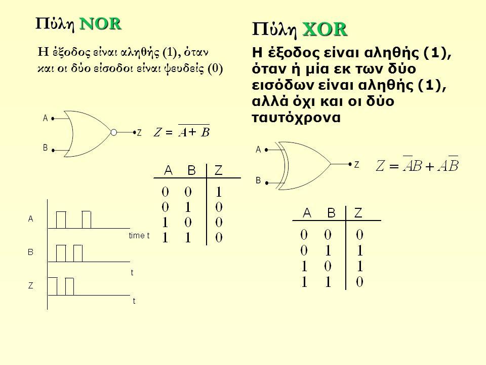 Πύλη NOR Πύλη XOR. H έξοδος είναι αληθής (1), όταν ή μία εκ των δύο εισόδων είναι αληθής (1), αλλά όχι και οι δύο ταυτόχρονα.