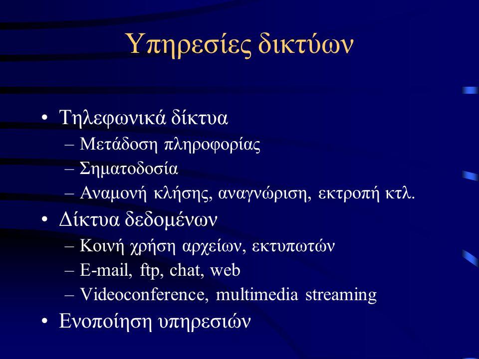 Υπηρεσίες δικτύων Τηλεφωνικά δίκτυα Δίκτυα δεδομένων