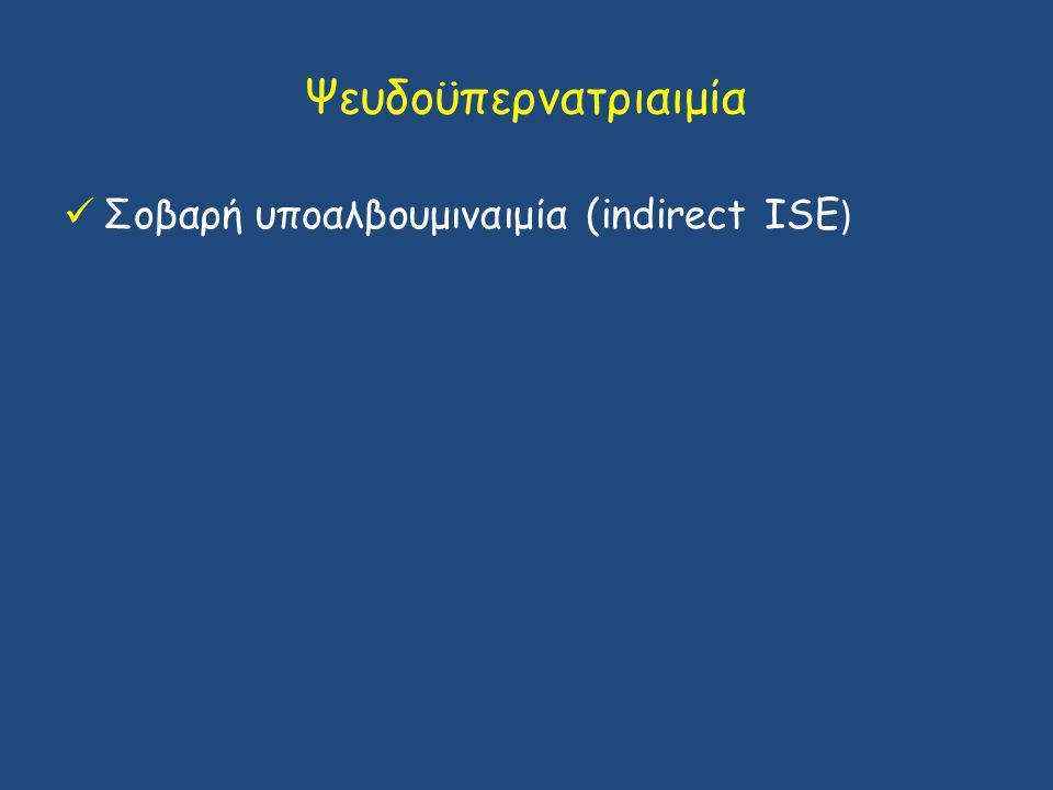Ψευδοϋπερνατριαιμία Σοβαρή υποαλβουμιναιμία (indirect ISE)