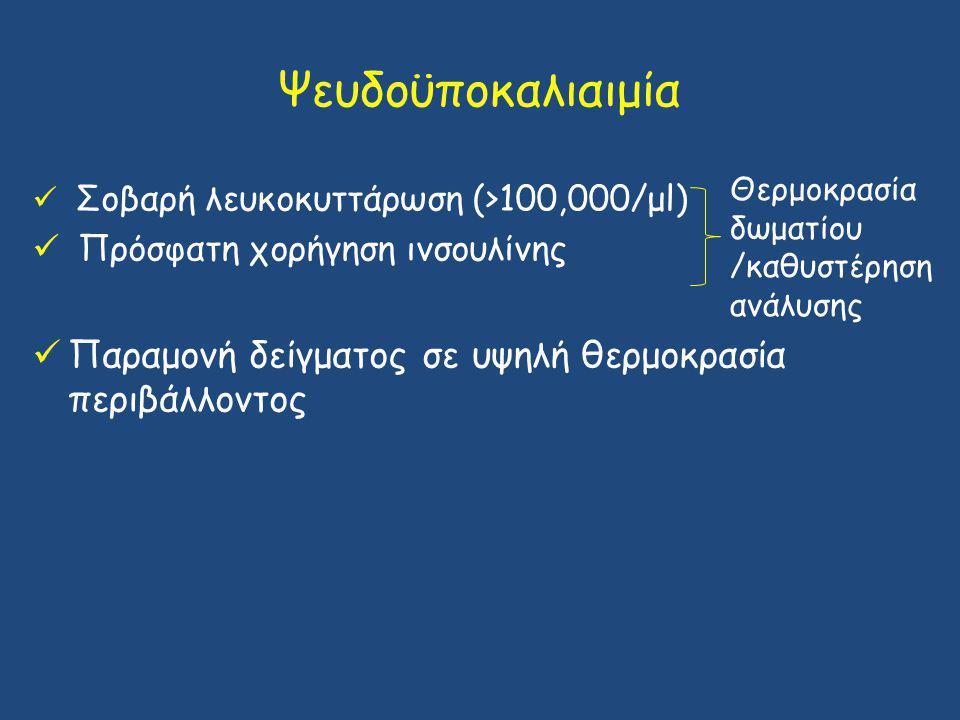 Ψευδοϋποκαλιαιμία Θερμοκρασία δωματίου /καθυστέρηση ανάλυσης. Σοβαρή λευκοκυττάρωση (>100,000/μl) Πρόσφατη χορήγηση ινσουλίνης.