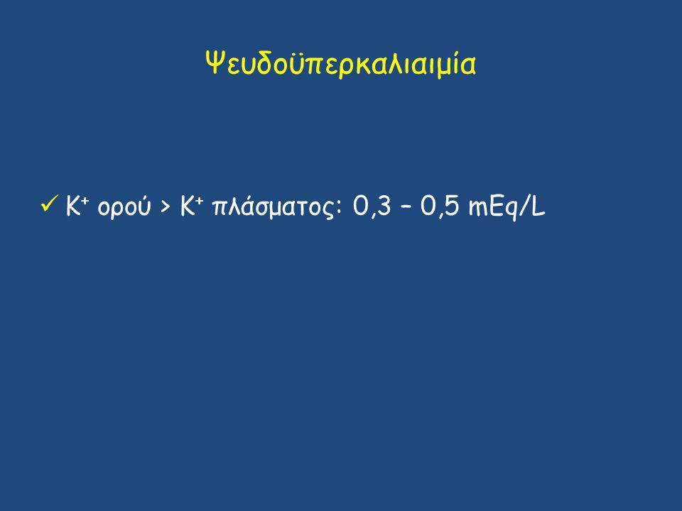 Ψευδοϋπερκαλιαιμία Κ+ ορού > Κ+ πλάσματος: 0,3 – 0,5 mΕq/L