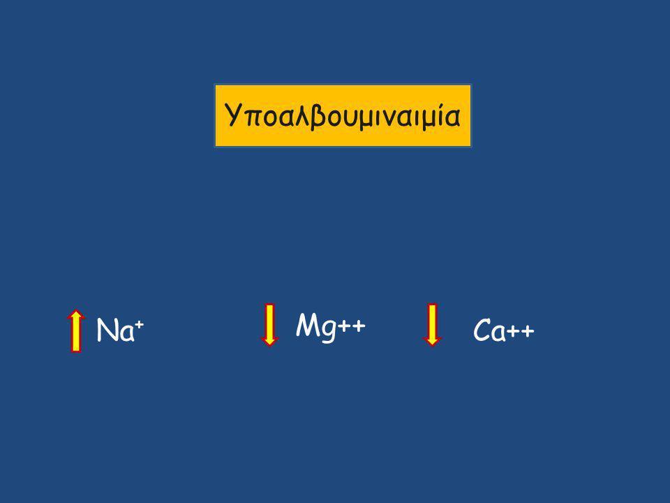 Υποαλβουμιναιμία Mg++ Na+ Ca++