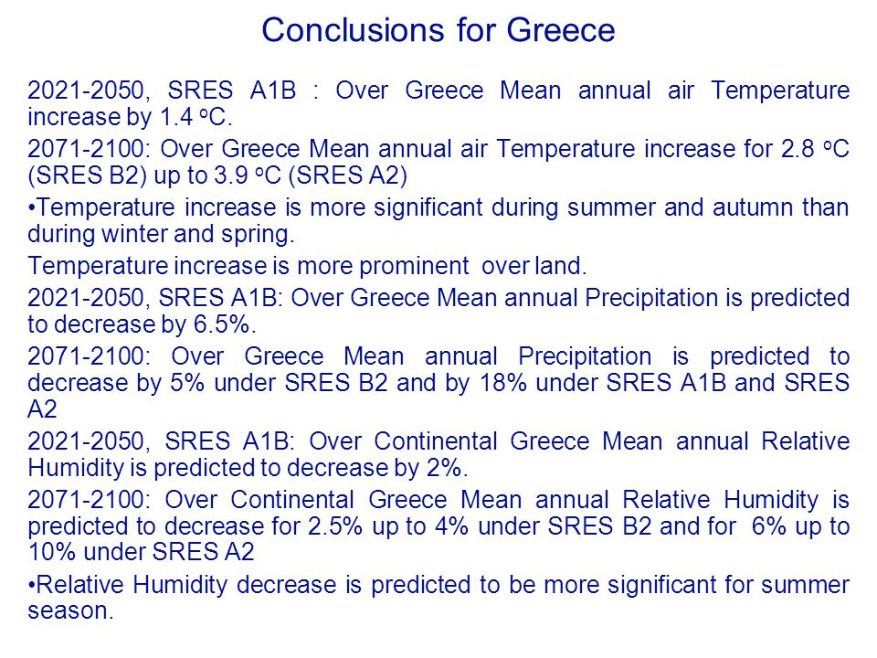 Conclusions for Greece