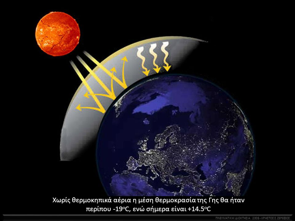 Χωρίς θερμοκηπικά αέρια η μέση θερμοκρασία της Γης θα ήταν περίπου -19οC, ενώ σήμερα είναι +14.5οC