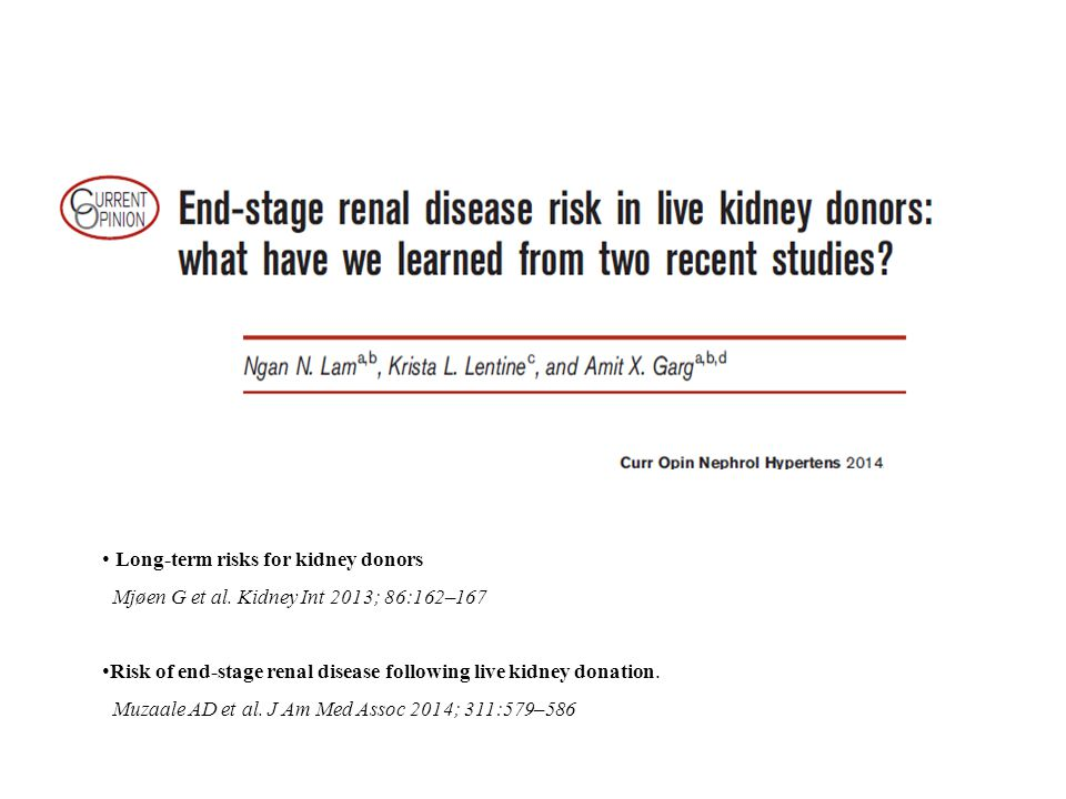 Long-term risks for kidney donors