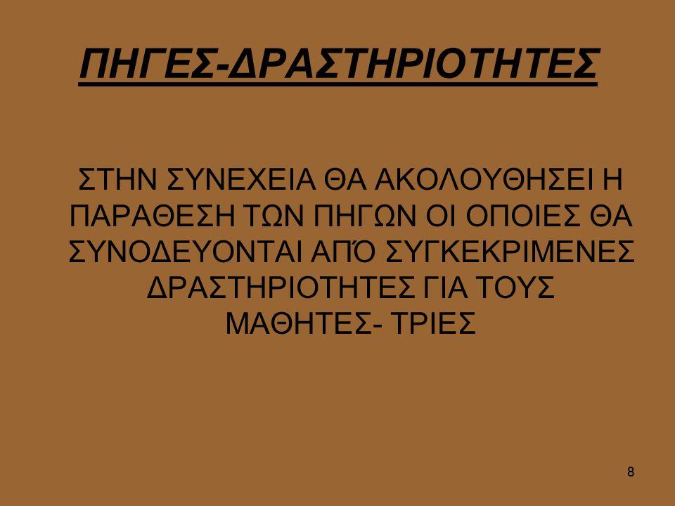 ΠΗΓΕΣ-ΔΡΑΣΤΗΡΙΟΤΗΤΕΣ