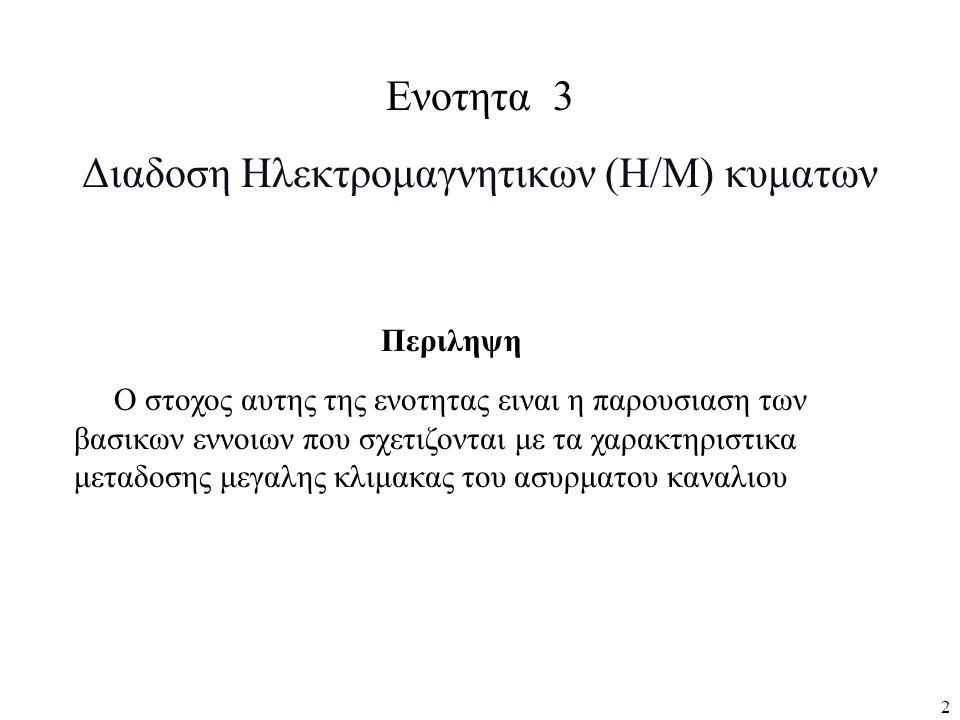 Διαδοση Ηλεκτρομαγνητικων (Η/Μ) κυματων
