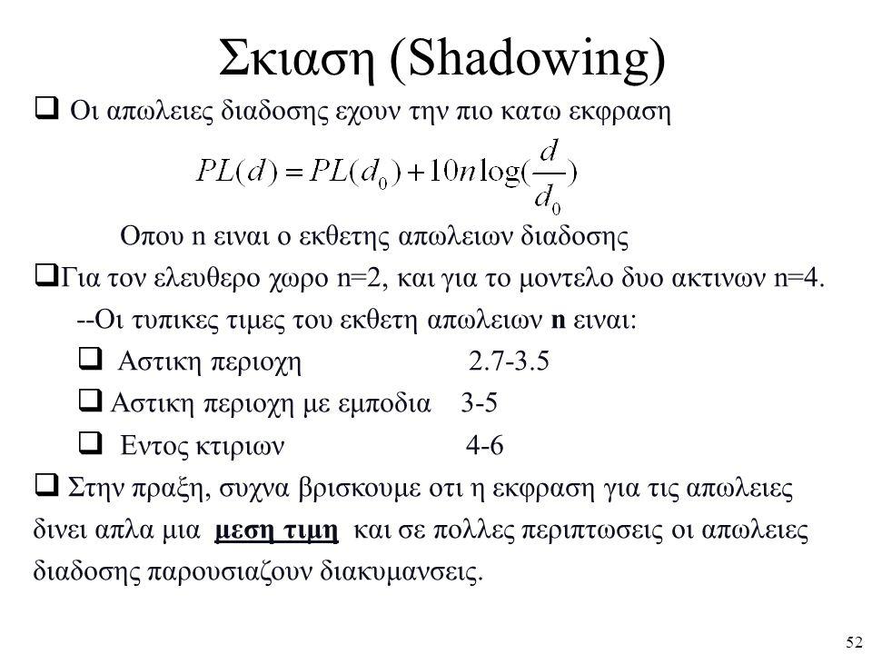 Σκιαση (Shadowing) Οι απωλειες διαδοσης εχουν την πιο κατω εκφραση