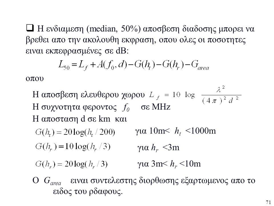 Η ενδιαμεση (median, 50%) αποσβεση διαδοσης μπορει να βρεθει απο την ακολουθη εκφραση, οπου ολες οι ποσοτητες ειναι εκπεφρασμένες σε dB:
