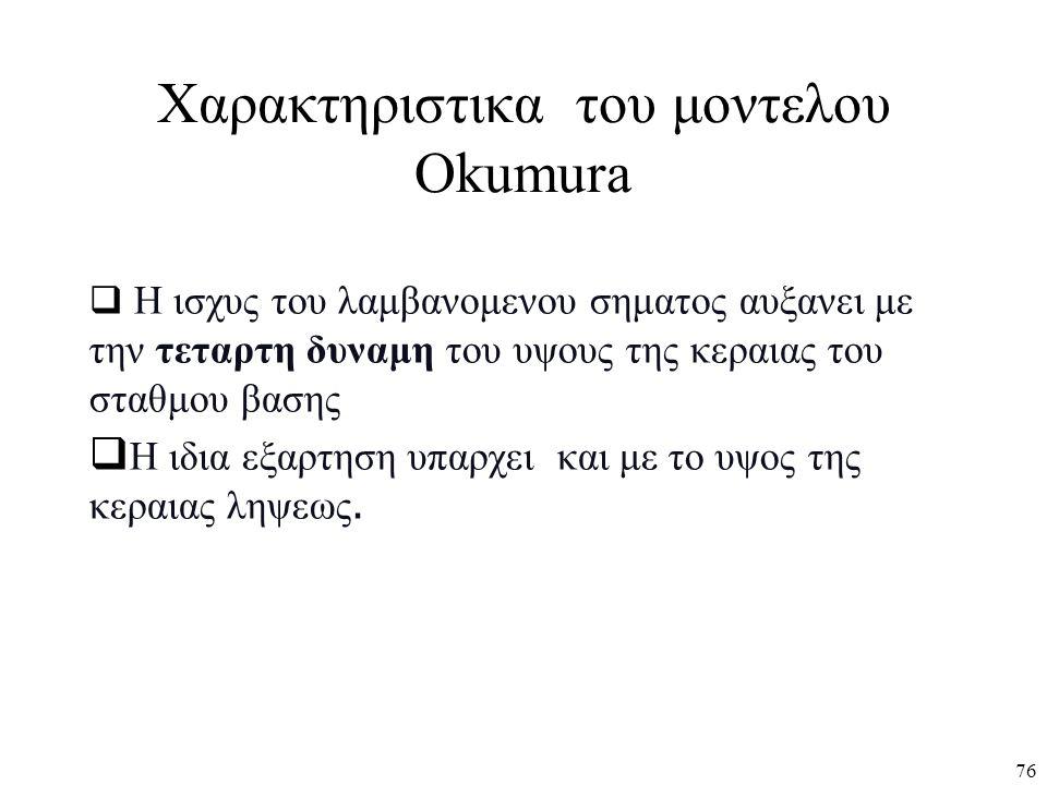 Χαρακτηριστικα του μοντελου Okumura