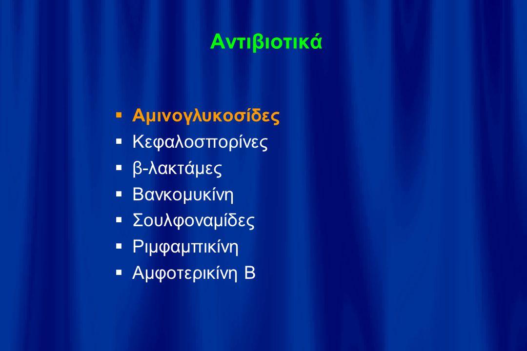 Αντιβιοτικά Αμινογλυκοσίδες Κεφαλοσπορίνες β-λακτάμες Βανκομυκίνη