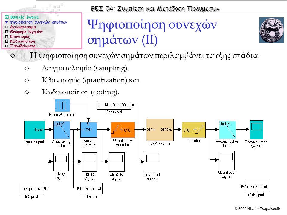 Ψηφιοποίηση συνεχών σημάτων (ΙΙ)