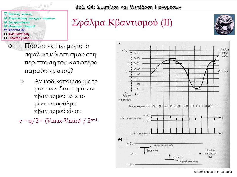 Σφάλμα Κβαντισμού (II)