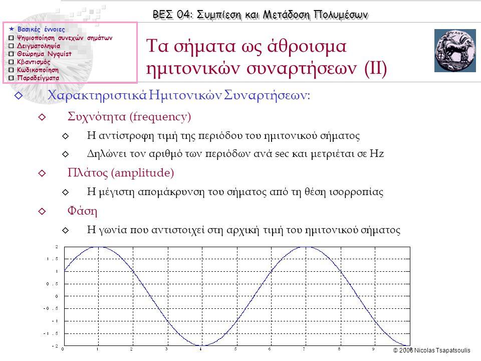 Τα σήματα ως άθροισμα ημιτονικών συναρτήσεων (ΙΙ)