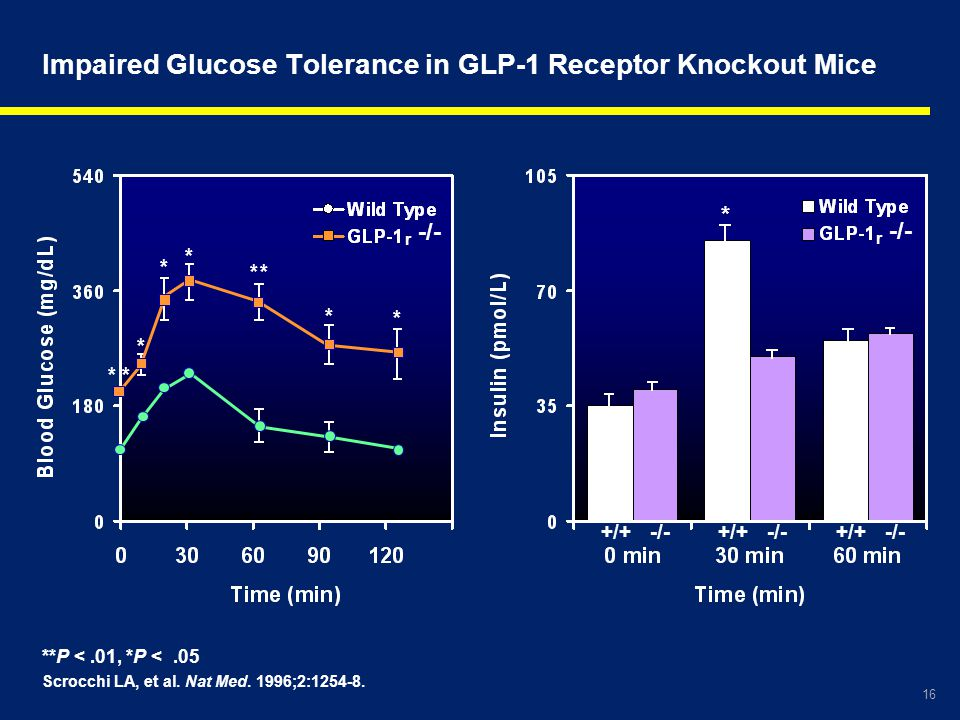 Impaired Glucose Tolerance in GLP-1 Receptor Knockout Mice