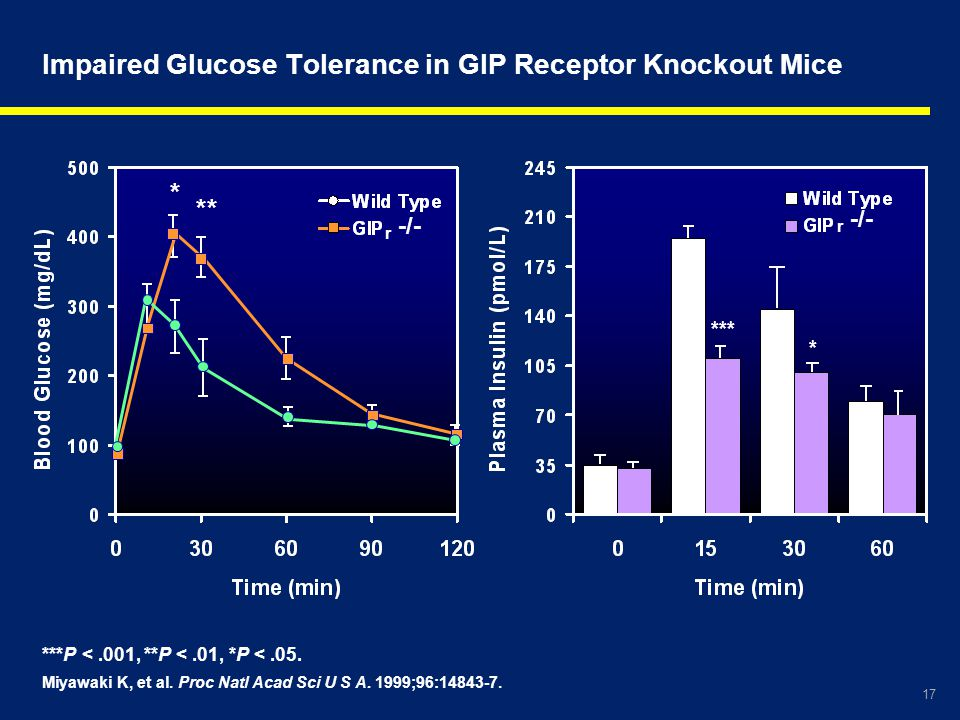 Impaired Glucose Tolerance in GIP Receptor Knockout Mice