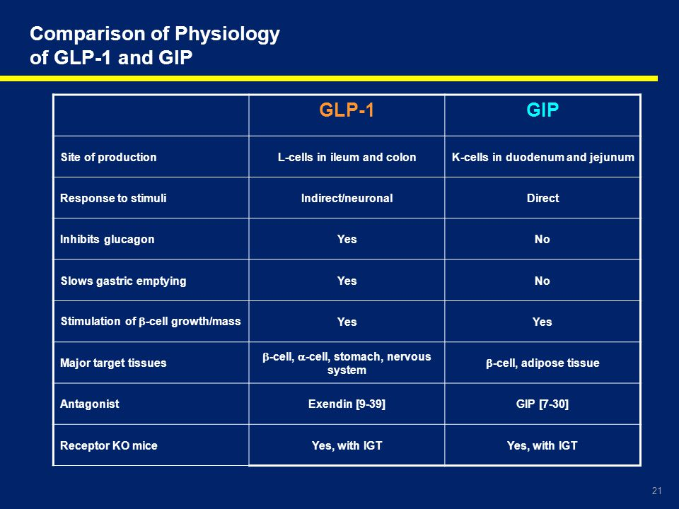 Comparison of Physiology of GLP-1 and GIP