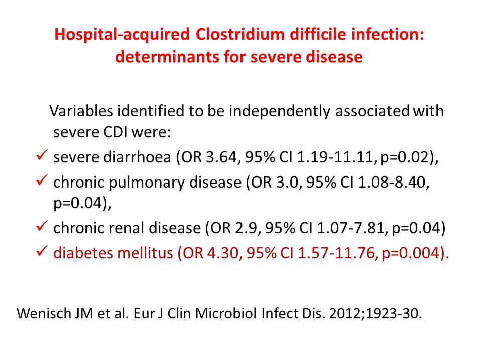 severe diarrhoea (OR 3.64, 95% CI 1.19-11.11, p=0.02),