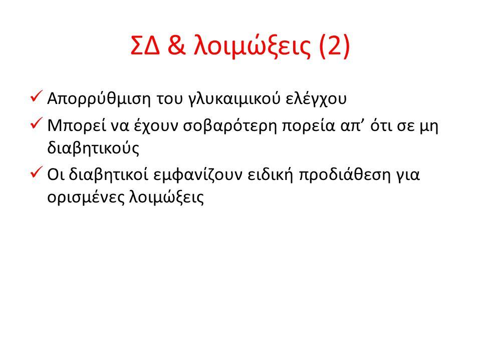 ΣΔ & λοιμώξεις (2) Απορρύθμιση του γλυκαιμικού ελέγχου