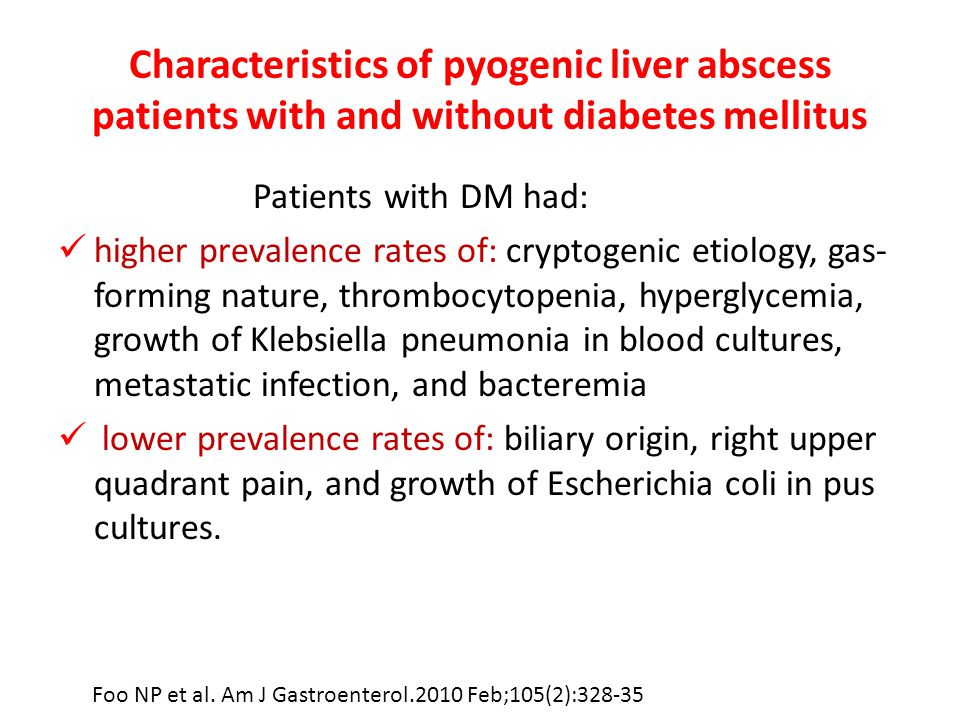 Characteristics of pyogenic liver abscess patients with and without diabetes mellitus
