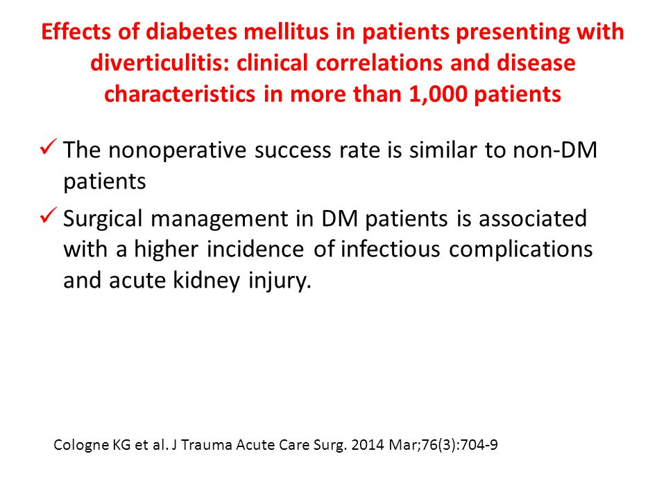 The nonoperative success rate is similar to non-DM patients