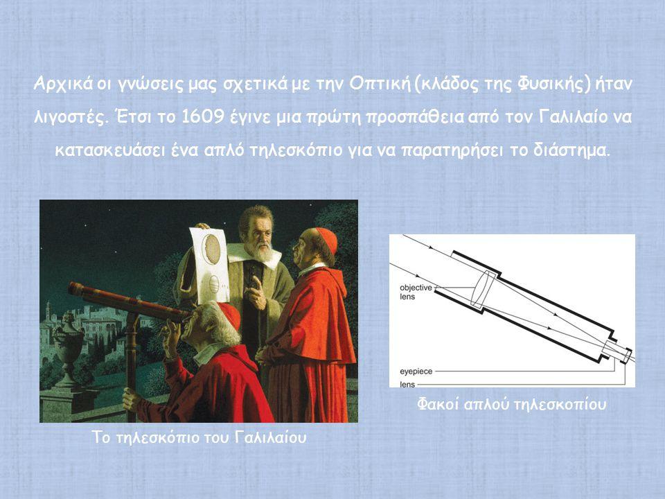 Αρχικά οι γνώσεις μας σχετικά με την Οπτική (κλάδος της Φυσικής) ήταν λιγοστές. Έτσι το 1609 έγινε μια πρώτη προσπάθεια από τον Γαλιλαίο να κατασκευάσει ένα απλό τηλεσκόπιο για να παρατηρήσει το διάστημα.