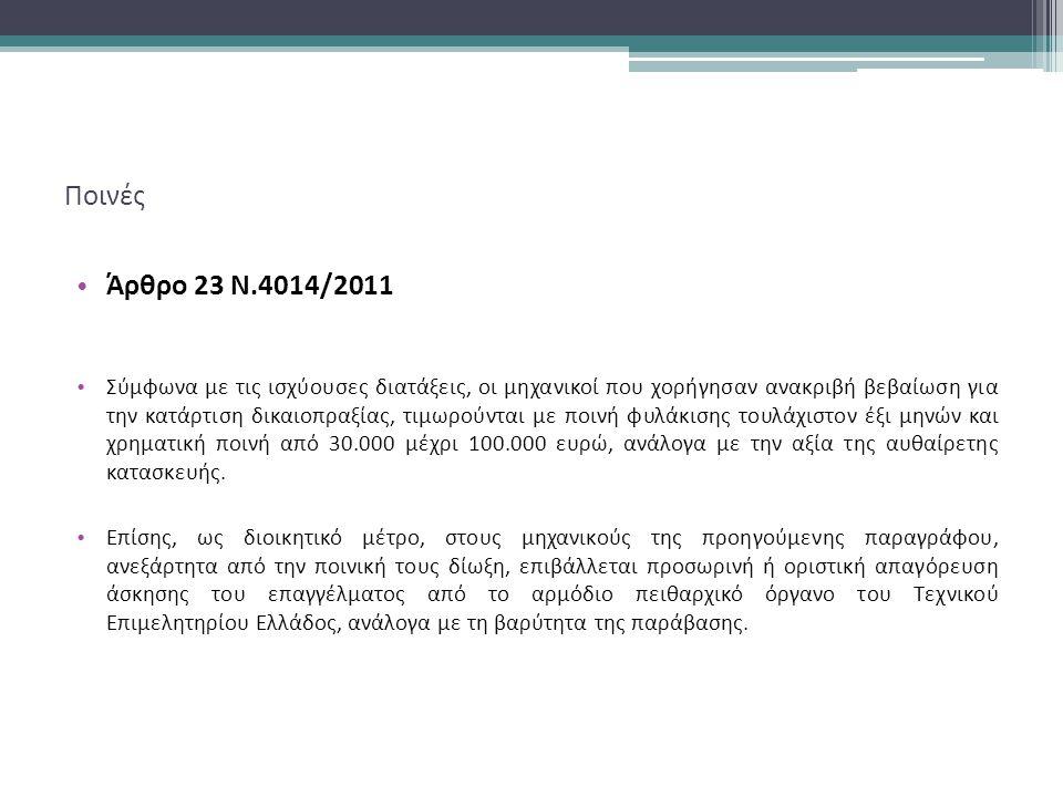 Ποινές Άρθρο 23 Ν.4014/2011.