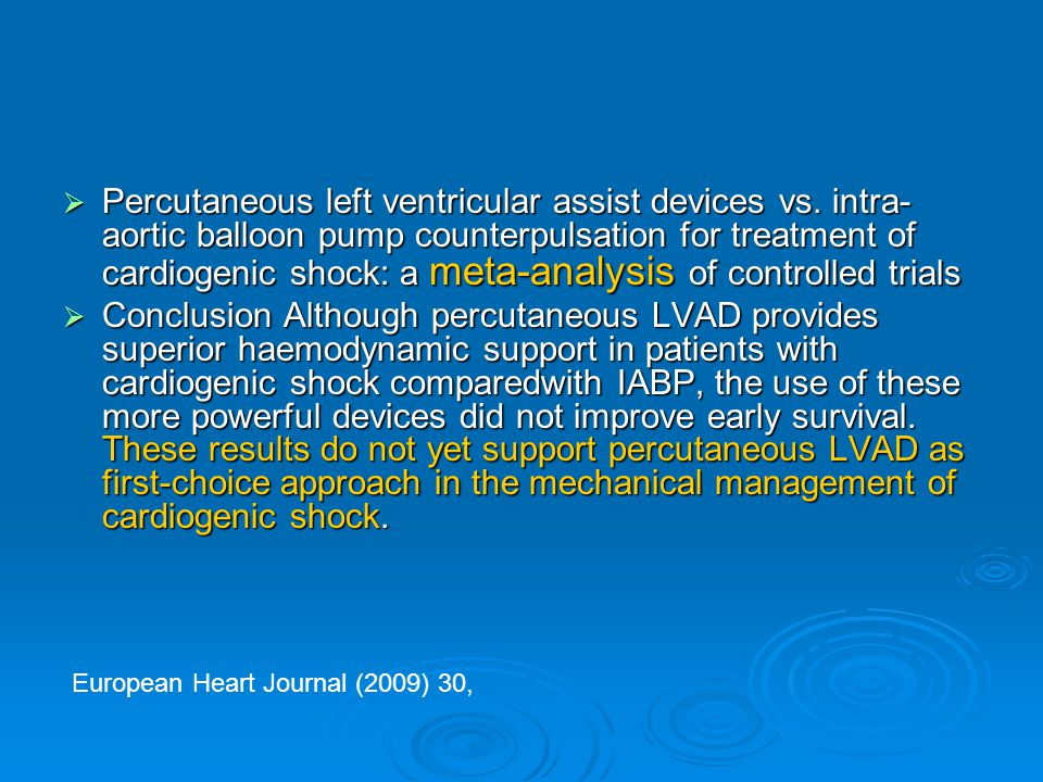 Percutaneous left ventricular assist devices vs