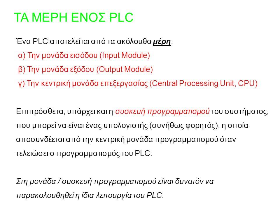ΤΑ ΜΕΡΗ ΕΝΟΣ PLC Ένα PLC αποτελείται από τα ακόλουθα μέρη: