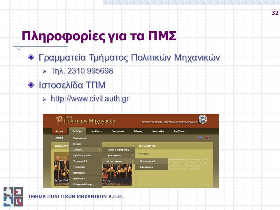 Πληροφορίες για τα ΠΜΣ Γραμματεία Τμήματος Πολιτικών Μηχανικών