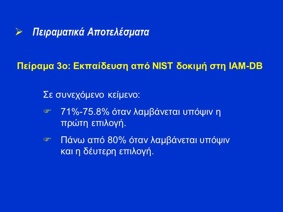 Πείραμα 3o: Εκπαίδευση από NIST δοκιμή στη IAM-DB