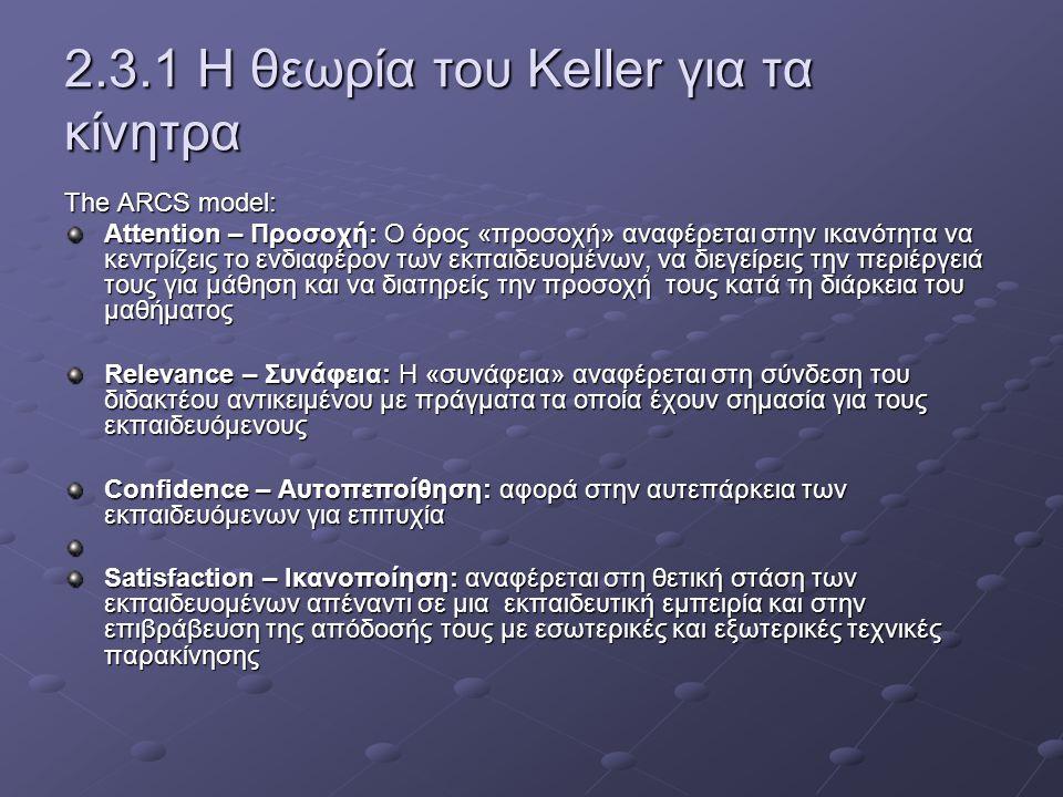 2.3.1 Η θεωρία του Keller για τα κίνητρα