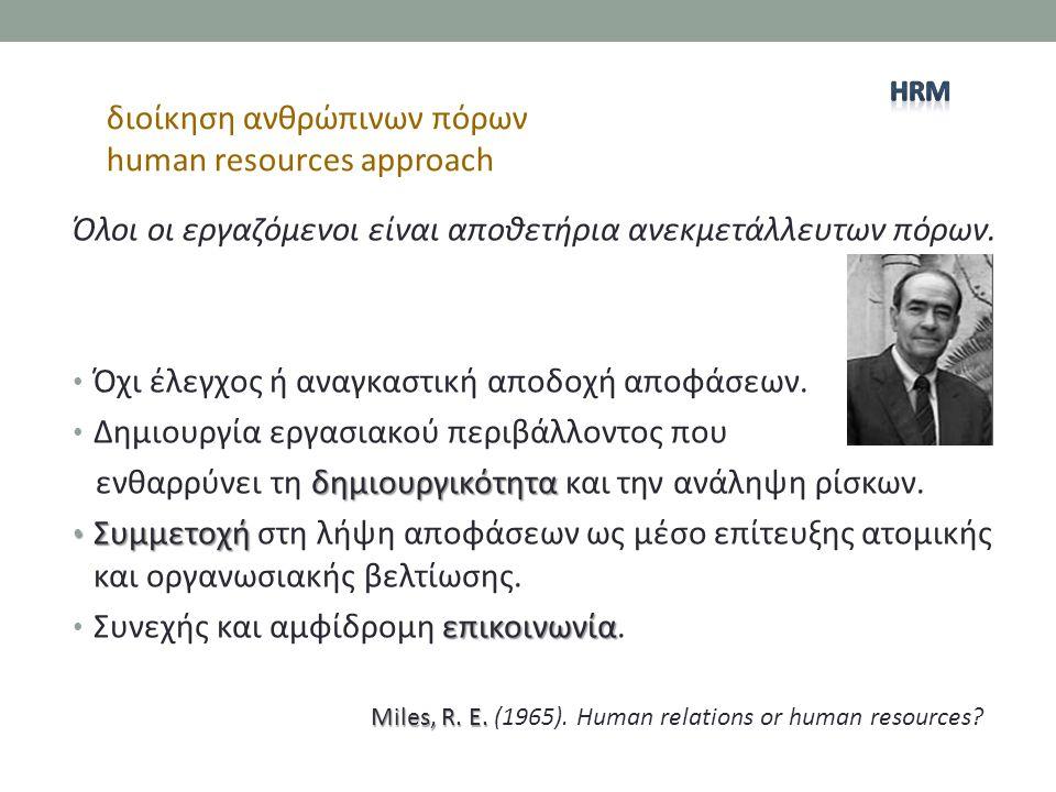 διοίκηση ανθρώπινων πόρων human resources approach