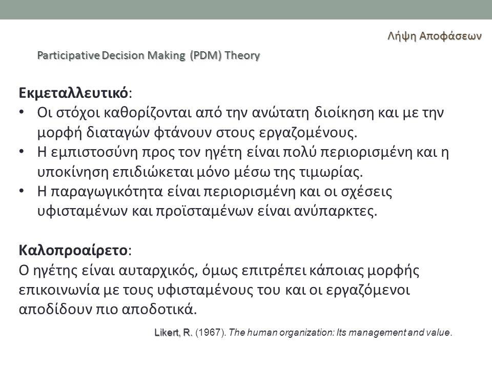 Λήψη Αποφάσεων Participative Decision Making (PDM) Theory. Εκμεταλλευτικό:
