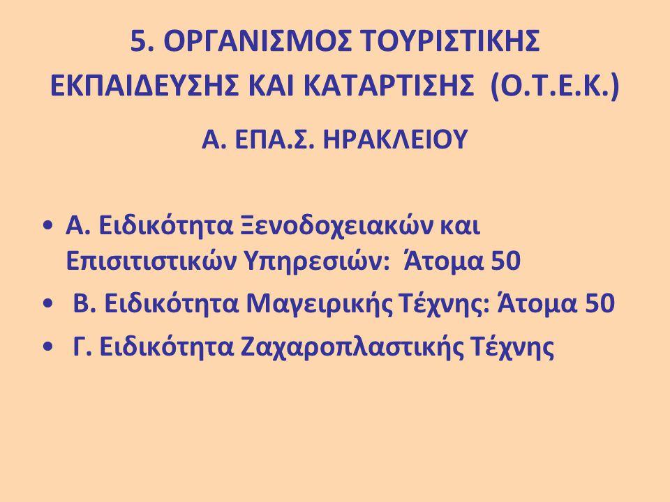 5. ΟΡΓΑΝΙΣΜΟΣ ΤΟΥΡΙΣΤΙΚΗΣ ΕΚΠΑΙΔΕΥΣΗΣ ΚΑΙ ΚΑΤΑΡΤΙΣΗΣ (Ο.Τ.Ε.Κ.)