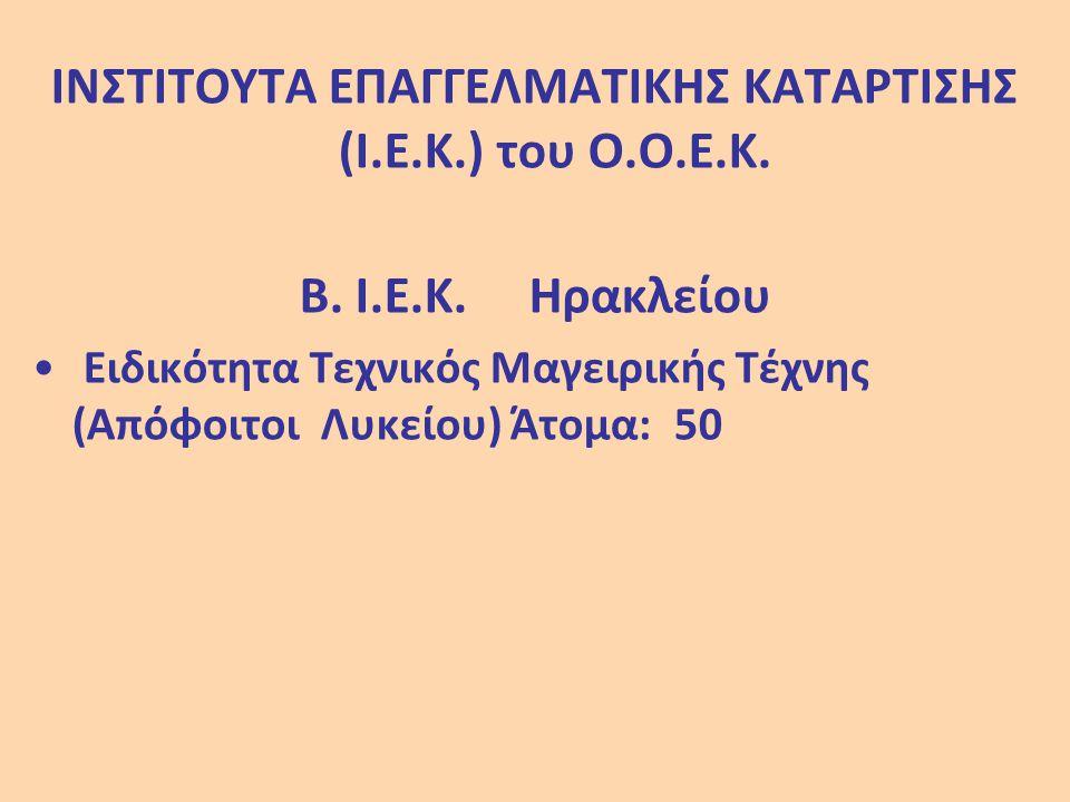 ΙΝΣΤΙΤΟΥΤΑ ΕΠΑΓΓΕΛΜΑΤΙΚΗΣ ΚΑΤΑΡΤΙΣΗΣ (Ι.Ε.Κ.) του Ο.Ο.Ε.Κ.