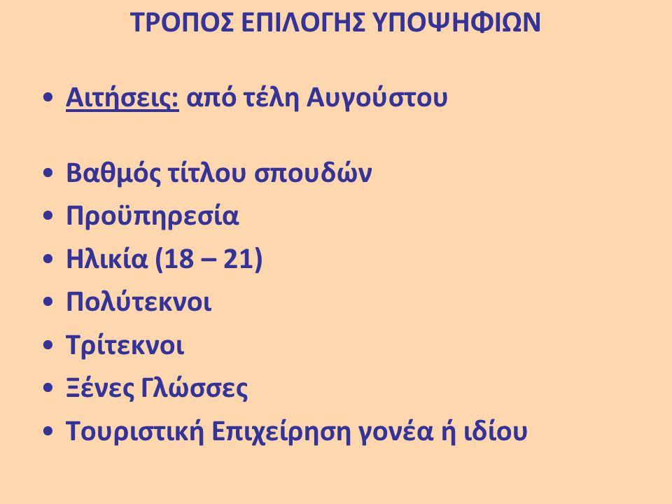 ΤΡΟΠΟΣ ΕΠΙΛΟΓΗΣ ΥΠΟΨΗΦΙΩΝ